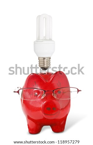 Piggy-bank with glasses and  light bulb . Energy savings concept.