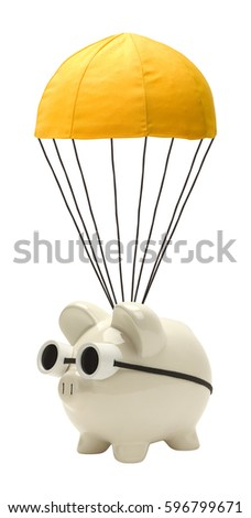 Piggy Bank with Golden Parachute Isolated on White.