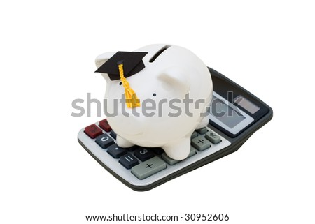 Piggy bank with graduation cap and calculator on white background, education savings