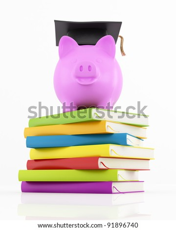 piggy bank with graduation cap on stack of colorful books on white - rendering