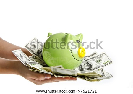 Photo of Piggy bank with money banknotes