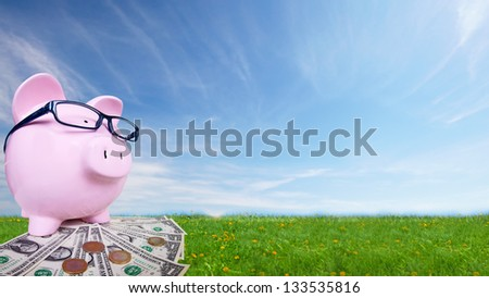 Piggy bank with money. Saving account concept background. - stock photo