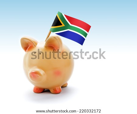 Piggy bank with national flag of South Africa