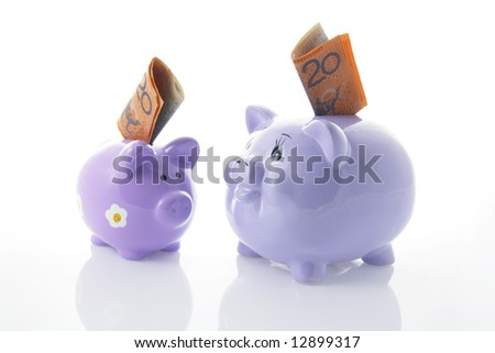 Piggy Bank with Notes with Reflection