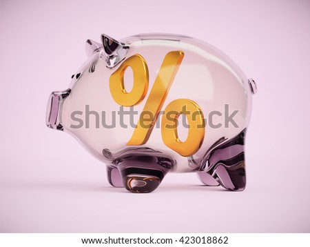 Piggy bank with percentage sign inside concept 3d illustration