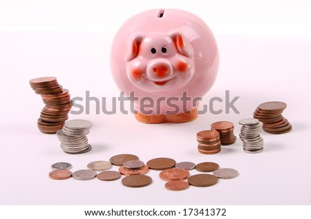 piggy bank with piles of money
