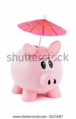 Piggy bank with pink umbrella sticking out of coin slot