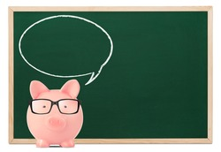 Piggy bank with speech bubble and blackboard