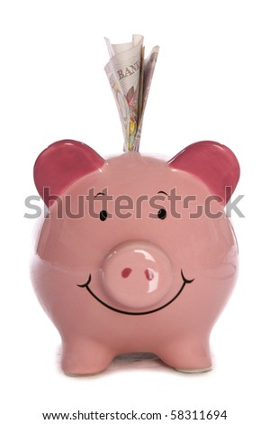 Piggy bank with ten pound sterling studio cutout