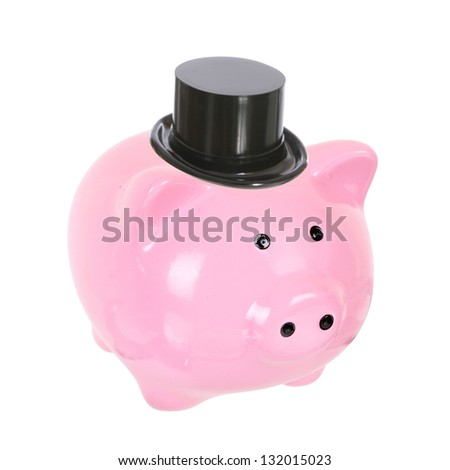 Piggy bank with top hat (money box) isolated on a white studio background