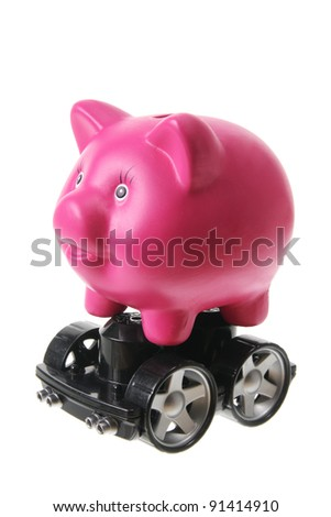 Piggy Bank with Wheels on White Background