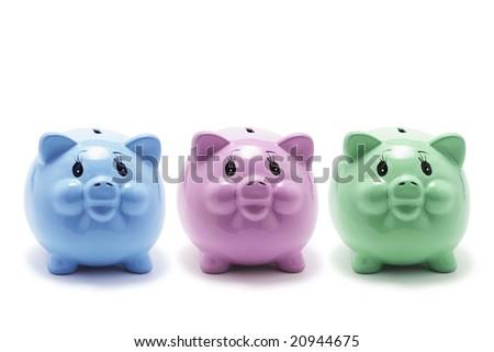 Piggy Banks on White Background