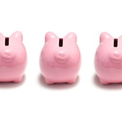 Piggy banks turning their back