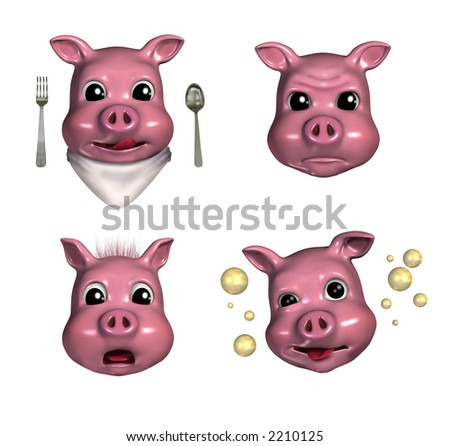 Piggy Emoticons 3 - 3D render - depicting hungry, pouty, scared and tipsy faces.