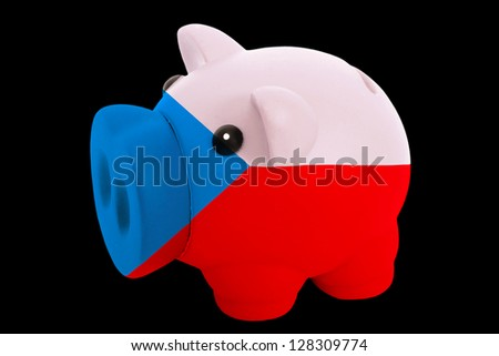 piggy rich bank in colors national flag of czech for saving money on black background