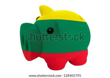 piggy rich bank in colors national flag of lithuania for savings on white background