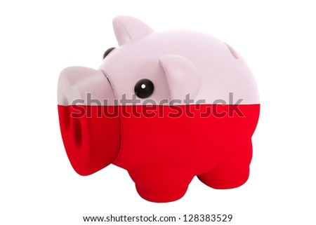 piggy rich bank in colors national flag of poland for savings on white background