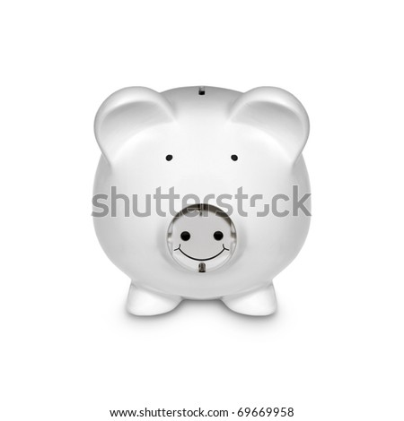 Piggy with Electric Plug as a Concept Isolated on White