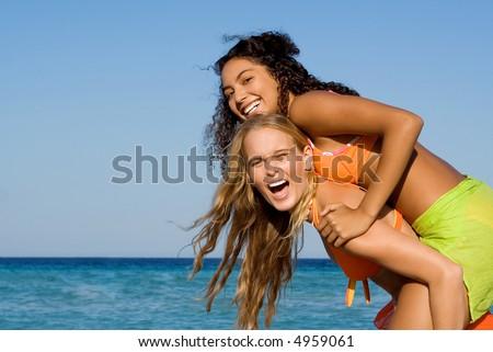 piggyback at beach