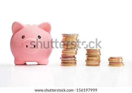 Piggybank and money tower