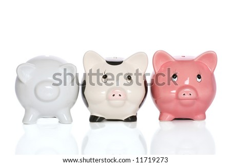 piggybank family standing tall and supportive.