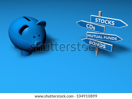 Piggybank or money-box with investment options on directional signs. - stock photo