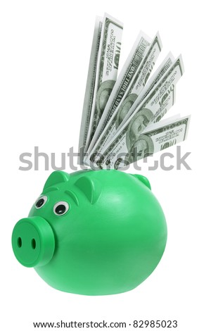 Piggybank with Banknotes on White Background