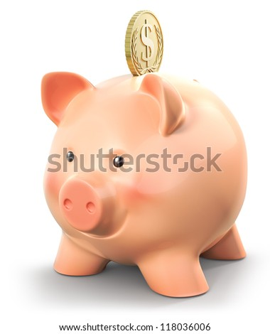 Piggybank with Dollar gold coin, isolated on white