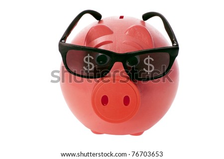 Piggybank with Sunglasses on White Background