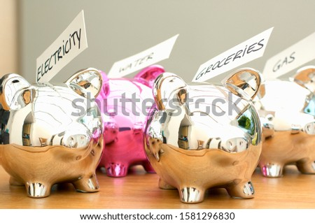 Piggybanks labeled with household food and utility bills to be paid
