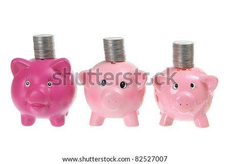 Piggybanks with Coins on White Background