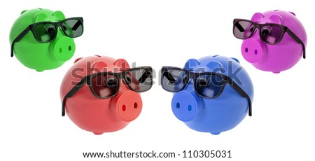 Piggybanks with Sunglasses on White Background