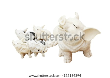 Pigs family isolated over a white background.