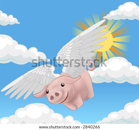 pigs might fly, a flying pig. Raster version