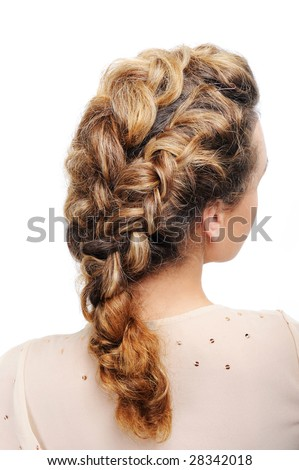 stock photo : Pigtail - Rear view of modern female hairstyle isolated on