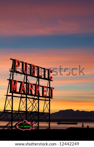 Pike Place Market neon sign at sunset, Seattle, Washington