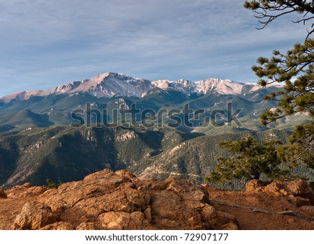 Pikes Peak and surrounding foothills.