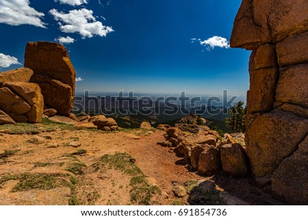 Pikes Peak is the highest summit of the southern Front Range of the Rocky Mountains. The ultra-prominent fourteener is located in Pike National Forest, 12 miles west of downtown Colorado Springs. #691854736