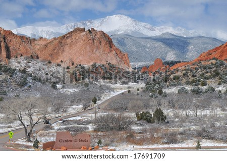Pikes Peak Soaring over the Garden of the Gods near Colorado Springs, Colorado in mid Winter