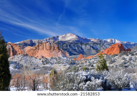 Pikes Peak Soaring over the Garden of the Gods near Colorado Springs, Colorado in Winter with Majestic deep blue sky
