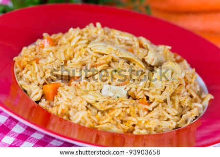 Pilaf,a rice meat with chicken and carrots
