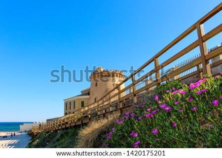 Pilar de la Horadada and Torre de la Horadada in the Vega Baja - Alicante - Spain Foto stock ©