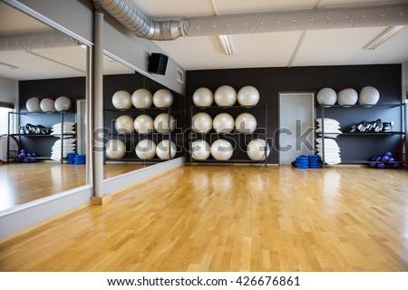 Pilate Balls Arranged In Shelves By Mirror