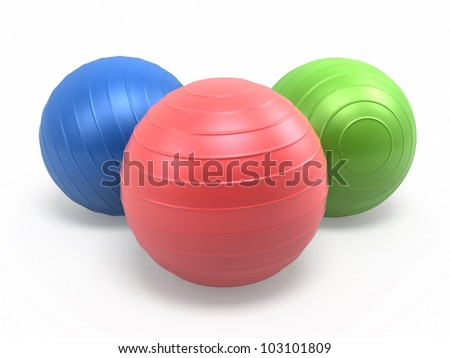 Pilates Blue Green Red Ball render (isolated on white and clipping path)