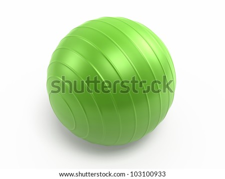 Pilates Green Ball render (isolated on white and clipping path)