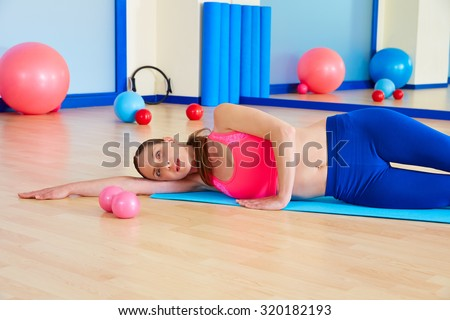 Pilates woman yoga relax exercise workout at gym indoor