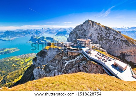 Pilatus Kulm mountain peak and Lucerne lake view, alpine peaks of Switzerland