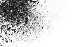 pile black coal isolated on white background