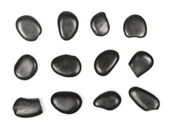 Pile black rocks, set, collection isolated on white background and texture, top view