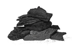 pile charcoal isolated on white background, xylanthrax, wood coal
